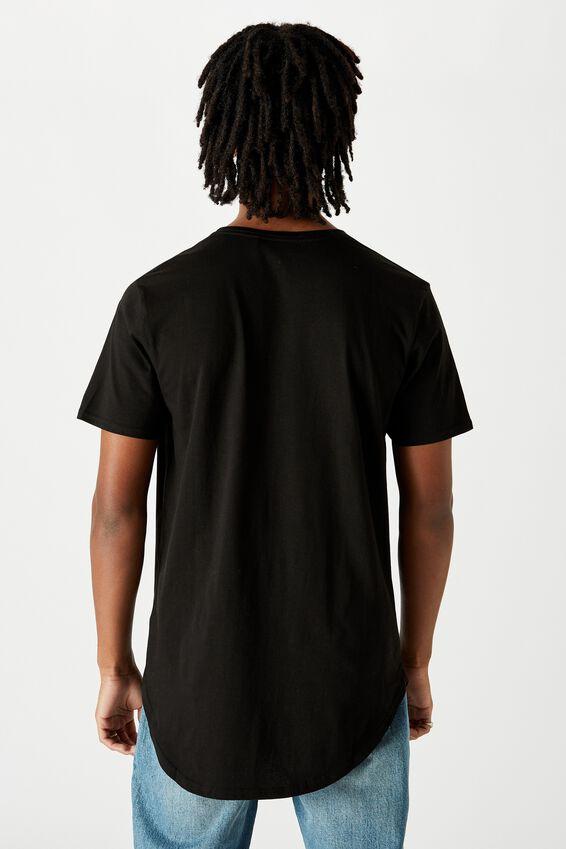 Curved T Shirt, BLACK