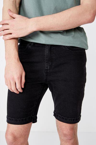 Tapered Denim Short, BLACK