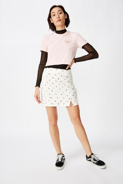 Double Split Mini Skirt, ROSE POSIE_WHITE