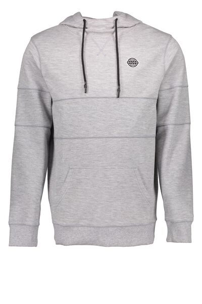 Clone Hi Neck Hoodie, LIGHT GREY MARLE PQ SPLICE