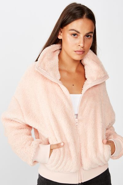 Plush Zip Thru Bomber, VINTAGE SEASHELL
