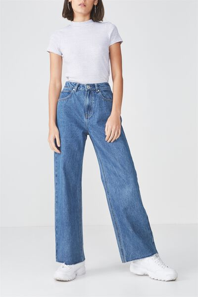 High Waist Wide Leg Jean, BLUE LAKE