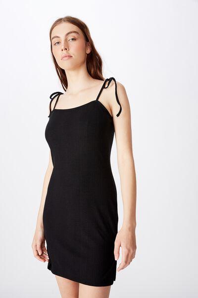 Side Split Dress, BLACK