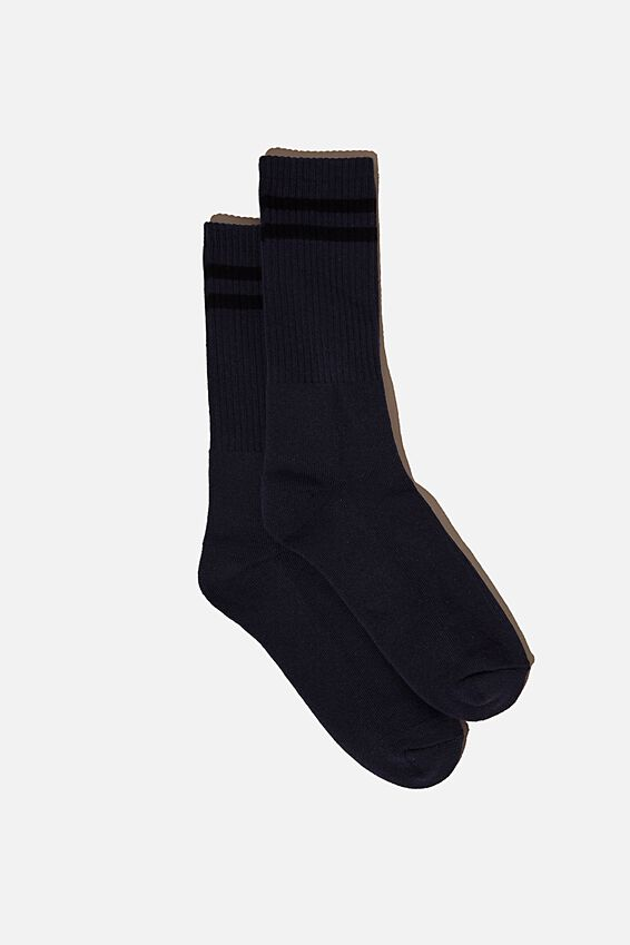 Retro Ribbed Socks, INDIGO PIGMENT DYE