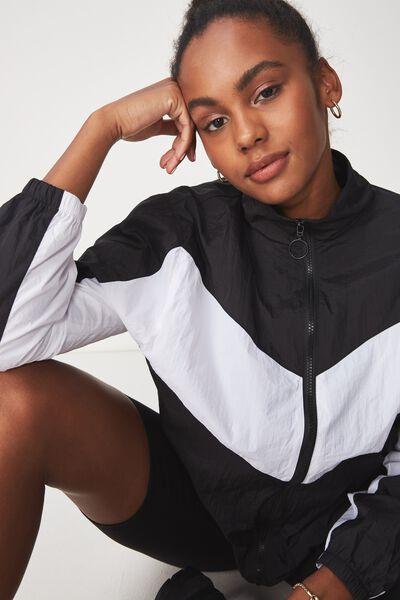 Windbreaker Jacket, BLACK/WHITE