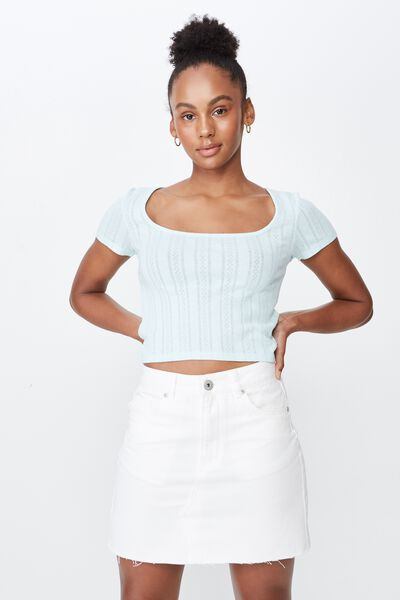 Classic Denim Skirt, WHITE