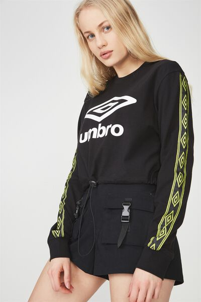 Umbro Lcn Toggle Front Longsleeve Top, BLACK/ACID LIME_LOGO