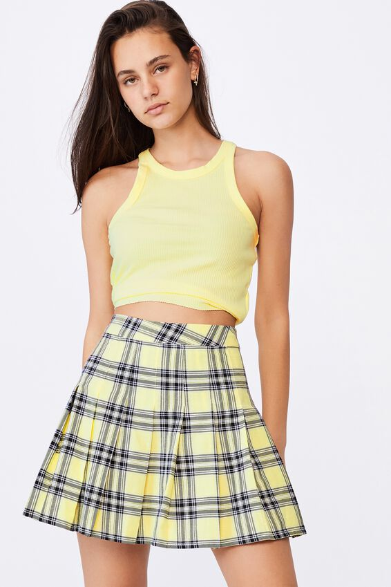 Pleated Skirt, LAYLA YELLOW CHECK