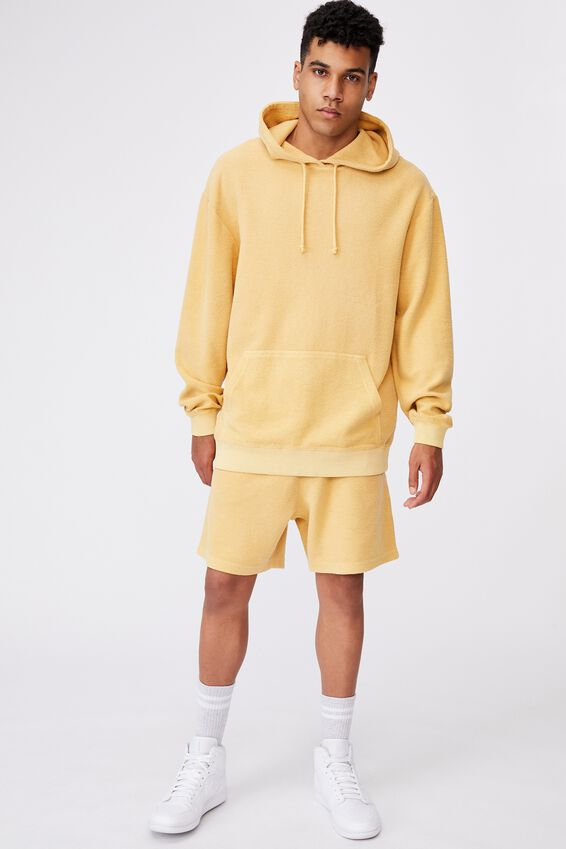 Reverse Fleece Track Short, WASHED CHALK YELLOW
