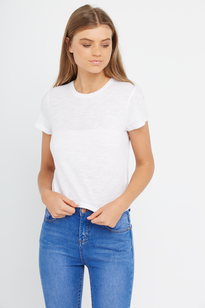 So Soft Crop Crew Tee, WHITE - SLUB