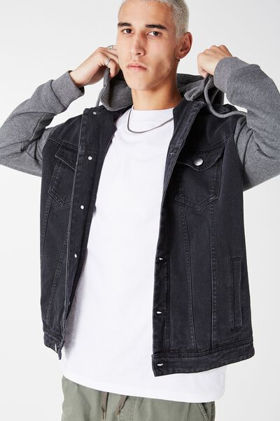 The Fleece Denim Jacket, BLACK/CHAR MARLE