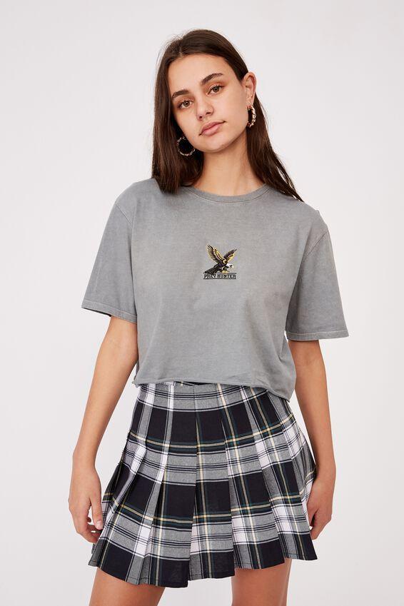 Short Sleeve Raw Edge Crop Graphic T Shirt, WASHED GREY/PREY HUNTER