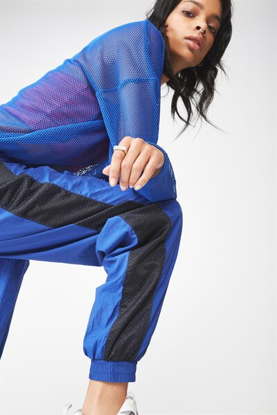 Colour Panel Shell Trackpant, SURF THE WEB_BLACK
