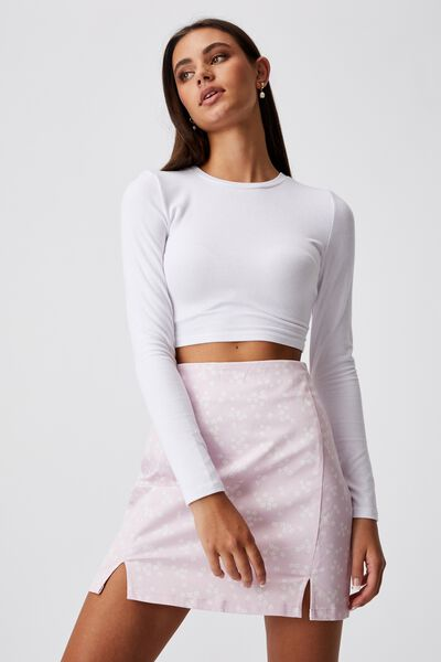 Double Split Mini Skirt, DARBY FLORAL LILAC SNOW