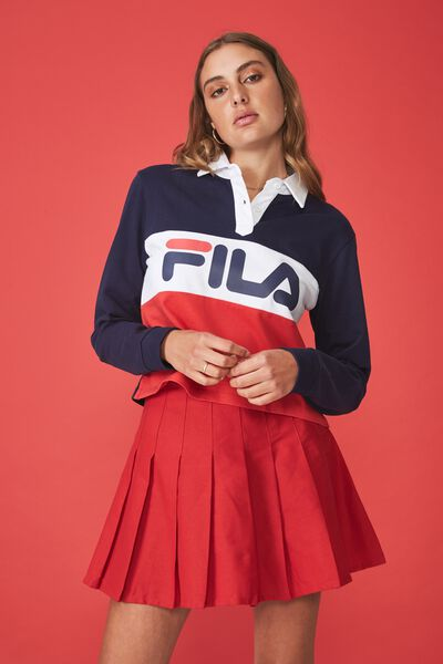 Fila Lcn Long Sleeve Polo Top, EVENING BLUE_LYCHEE