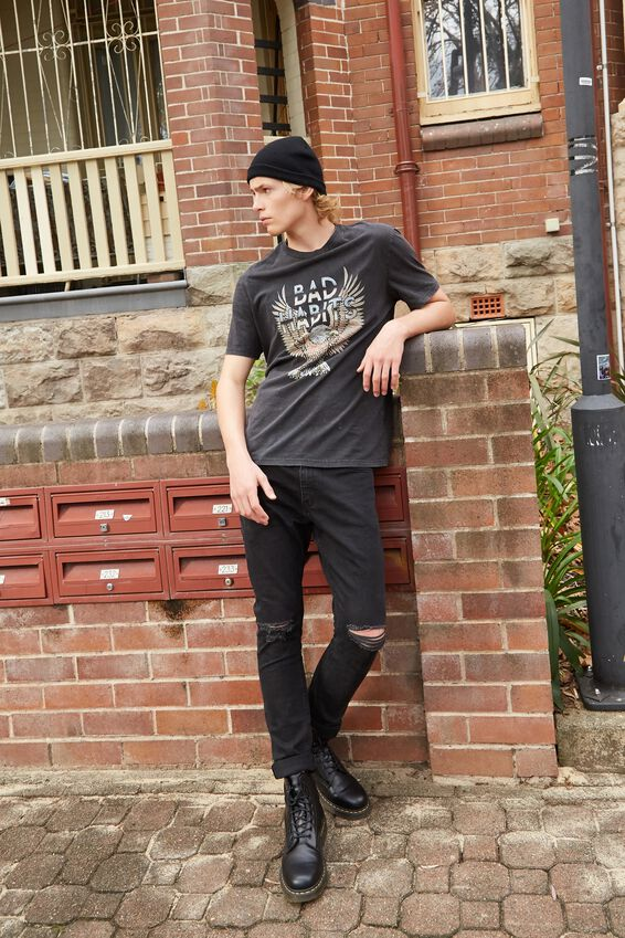 Regular Graphic T Shirt, WASHED BLACK/BAD HABITS