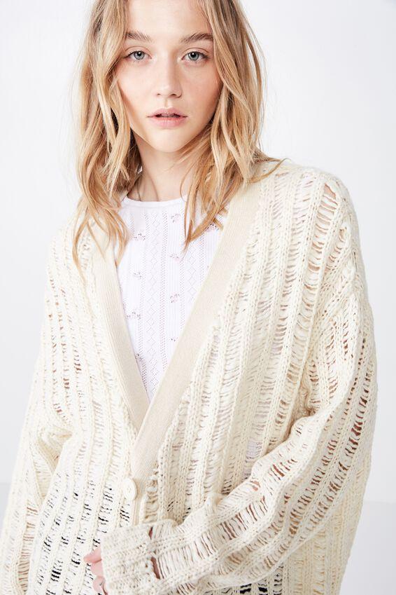 Oversized Chunky Knit Cardi, NEUTRAL