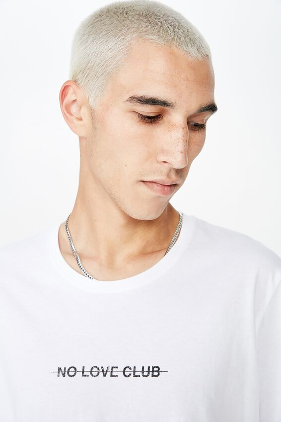 Curved Graphic T Shirt, WHITE/NO LOVE