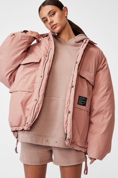 Oversized Padded Jacket, SILVER PINK