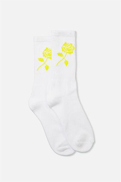 Retro Ribbed Socks, WHITE_LIME ROSE