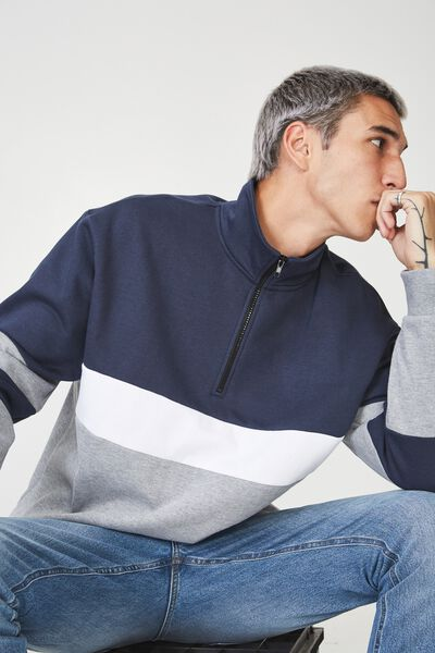 Qtr Zip Fleece, GREY MARLE/NAVY SPLICE