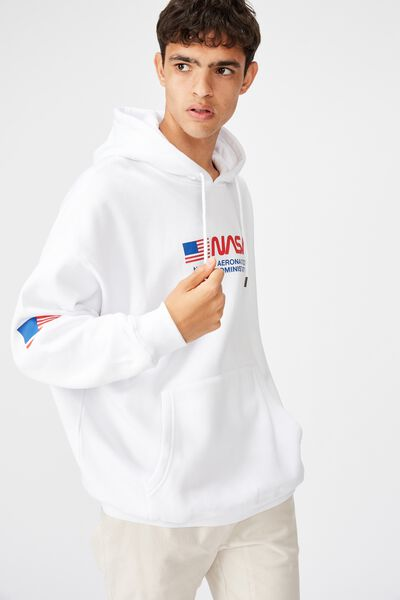 License Oversized Graphic Hoodie, WHITE/NASA WORM