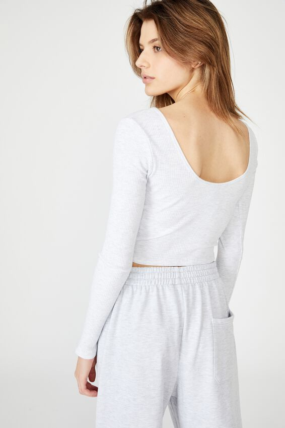 V Neck Scoop Back Ls, SILVER MARLE