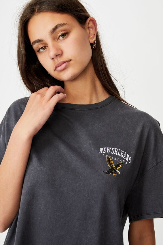 Super Relaxed Graphic Tee, WASHED BLACK/NEW ORLEANS EAGLE