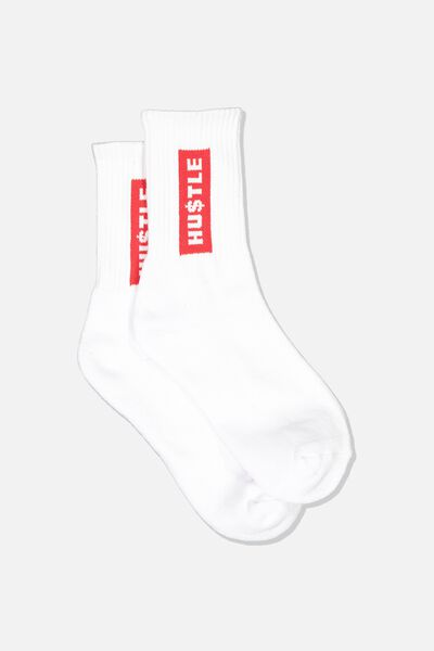 Retro Sport Sock, WHT_HUSTLE