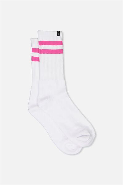 Retro Ribbed Socks, WHITE_H PINK STRIPE