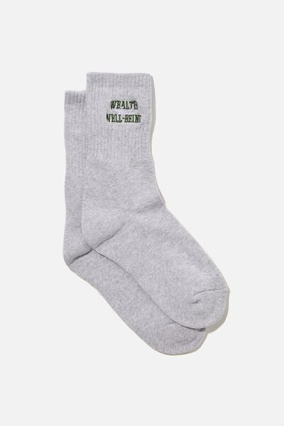 Retro Sport Sock, SILVER MARLE/WEALTH WELLBEING