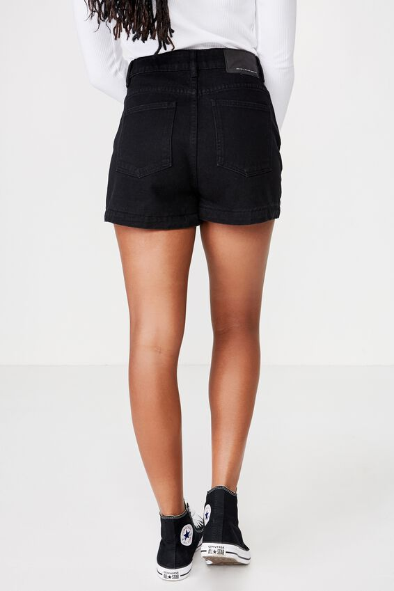 High Rise Denim Short 2, BLACK