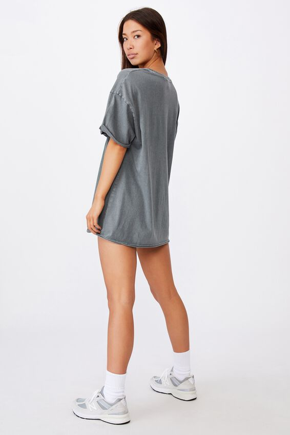 Oversized Graphic T Shirt, WASHED GREY/NEVER TOO LATE
