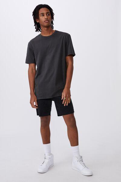 Slim Cut Denim Short, WASHED BLACK RAW HEM
