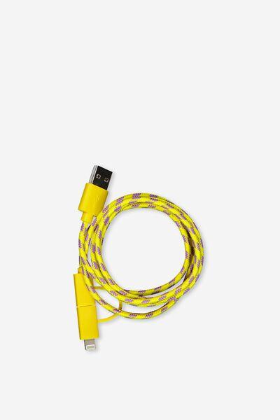 Phone Charging Cord, YELLOW_PURPLE