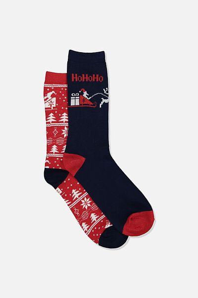 Xmas Gift Pack Socks, REINDEER RED/SLEIGH