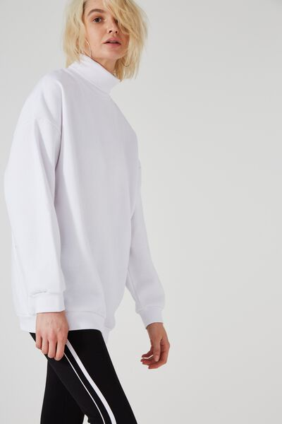 Longline Funnel Neck Fleece, OPTIC WHITE
