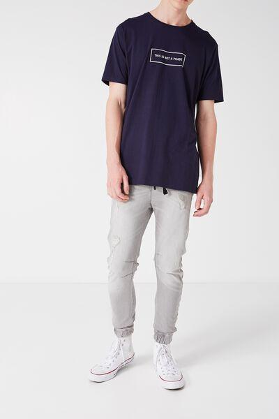 Slim Cuffed Denim Jeans, GREYSTONE