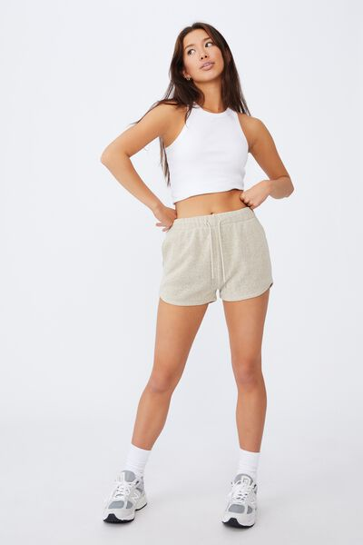 Textured Jersey Pull On Sporty Short, WOOD ASH