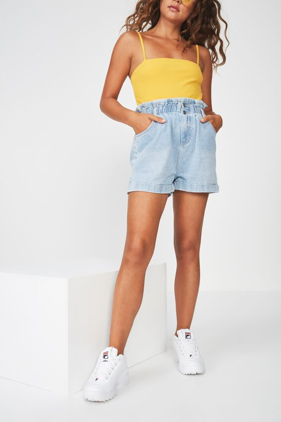 Denim Paperbag Short, THRIFT SKY BLUE