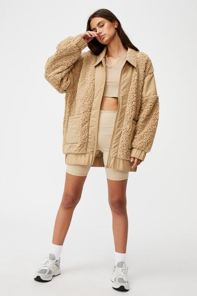 Oversized Teddy Jacket, TRAVERTINE