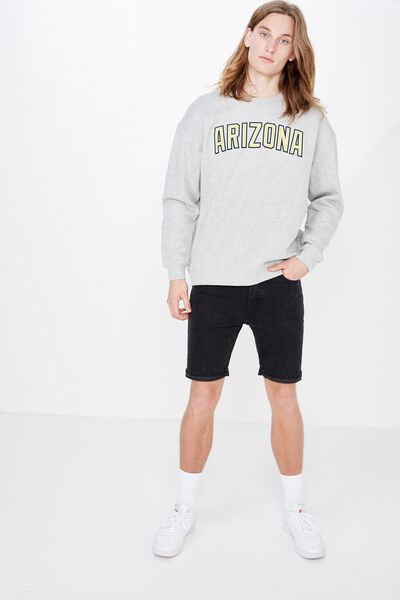 Oversized Graphic Crew, LIGHT GREY MARLE/ARIZONA