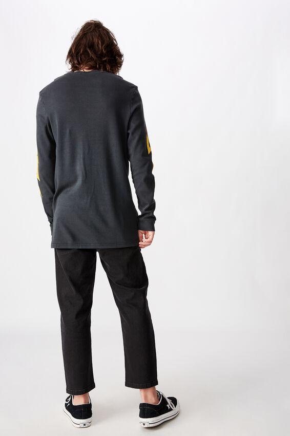 Slim Long Sleeve Graphic T Shirt, WASHED BLACK LIGHTNING