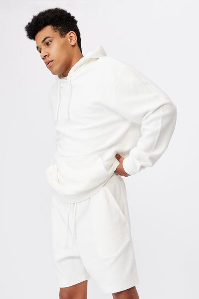 Reverse Fleece Track Short, WHITE