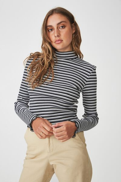 Stripe Rib Lettuce Edge Long Sleeve 1ca63184c