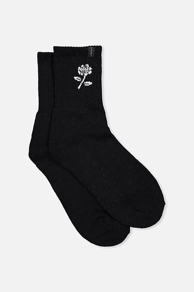 Retro Sport Sock, BLACK_WHITE ROSE