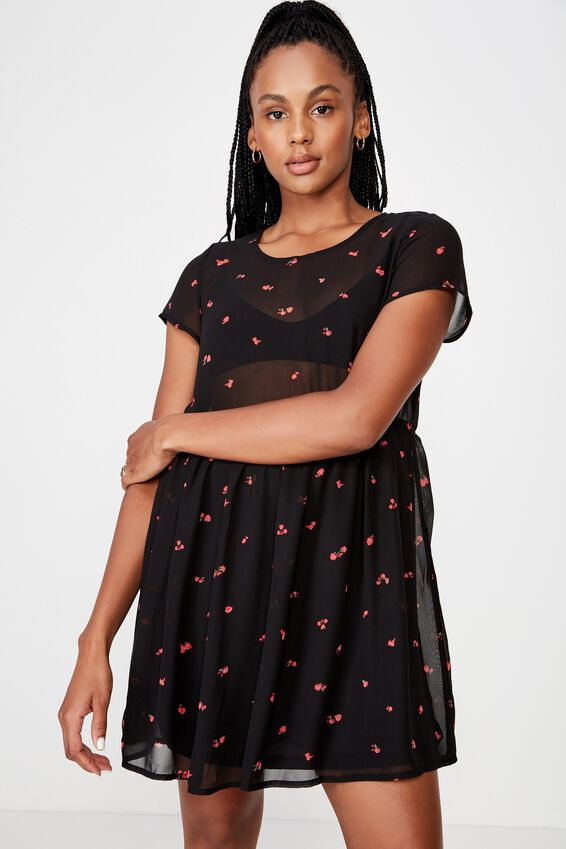 Babydoll Dress, ROMANTIC ROSE DARK BASE