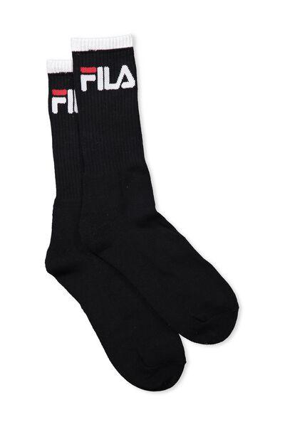 Fila Ribbed Sock, BLACK_WHITE TIP