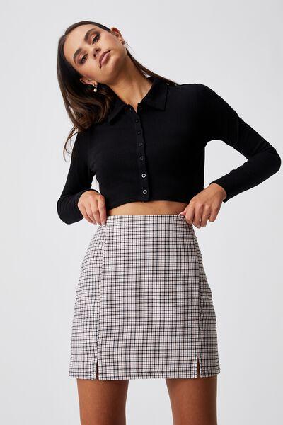 Double Split Mini Skirt, MILLIE GINGHAM FAWN