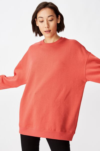 Oversized Crew Neck Sweater, SPICED CORAL